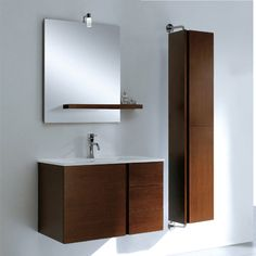 The Adornus Caleb Single Bathroom Vanity with Mirror will bring simple, contemporary elegance to your bathroom. This wall hung vanity includes a. Small Bathroom Colors, Small Bathroom With Shower, White Bathroom Tiles, Single Bathroom Vanity, Simple Bathroom, Wooden Bathroom Cabinets, Wall Hung Vanity, Floating Vanity, Bathroom Light Fixtures