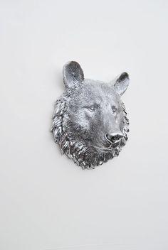 The Hector  1 Chrome Mini Resin Bear Head by WhiteFauxTaxidermy, $29.99