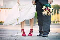 Sexy red bridal shoes