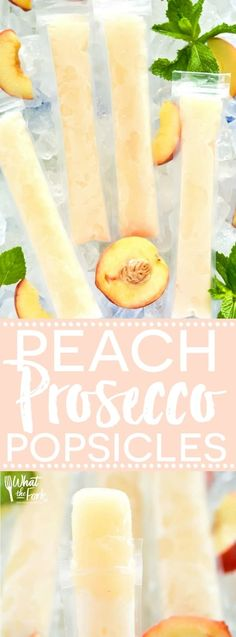 How to make your own Peach Prosecco Popsicles – so easy! These trendy frozen cocktails can be made with minimal ingredients and are ready for the freezer in just 5 minutes. Recipe from What The Fork Beste Cocktails, Frozen Cocktails, Easy Cocktails, Cocktail Recipes, Fruity Cocktails, Recipes Dinner, Frozen Desserts, Frozen Treats, Peach Popsicles