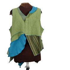Topographia: art vest in greens and turquoise and splashes of orange - Secret Lentil Clothing