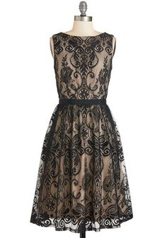 Flair for Fastidious Dress. Your keen eye for detail and brilliant taste lead you to this black lace A-line - available for purchase in November! #gold #prom #modcloth