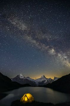 Photo Milky Way over Bachalpsee by Rolf Sterchi on Camping And Hiking, Camping Life, Backpacking, Trekking, Grindelwald, Zermatt, Surf, Camper, Camping Photography