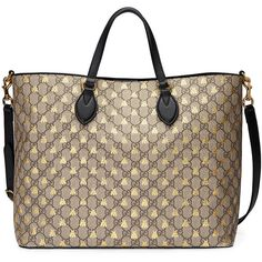 Gucci GG Supreme bees tote (€1.225) ❤ liked on Polyvore featuring bags, handbags, tote bags, leather tote bags, leather tote handbags, brown leather purse, brown tote and leather handbag tote