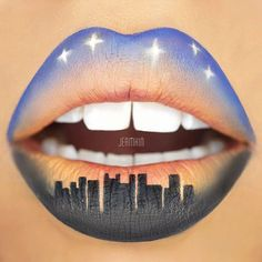 City Skyline Lip Art By Jean Kim