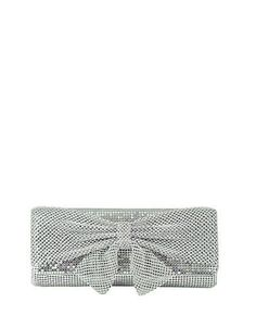 Jessica Mcclintock Metal Embellished Clutch with Bow Accent Women's Si