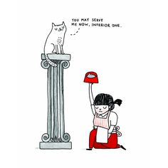 """Gemma Correll's new book """"A Cat's Life"""" is out today! She certainly knows a thing or two about cat servitude"""