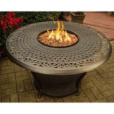 Oakland Living Corporation Carolton Premium 48-inch Round Aluminum Gas Firepit Table with Burner System and Weather Fabric Cover (Antique Bronze), Black, Outdoor Décor