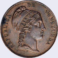 Pieza mv1cr-aa02 (Anverso). Moneda de Venezuela. 1 Centavo (Peso). Diseño A, Tipo A. Fecha 1852