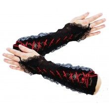 BLACK LACE WITCHY LONG GOTHIC STEAMPUNK VICTORIAN GLOVES WITH RED BLACK RIBBON
