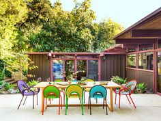 California Homes, Outdoor Decor, Blue Tile Accent, Colorful Patio, Outdoor Furniture Design, Outdoor Sofa Sets, Tablescape Inspiration, Architectural Digest, Outdoor Furniture Sets