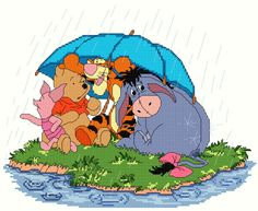Winnie the Pooh and Friends under Umbrella 1/4