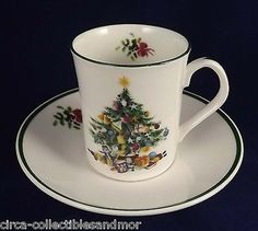Staffordshire Elizabethan Seasons Greetings Coffee Cup & Saucer Original Sticker
