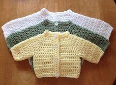 Ravelry: Basic Round Neck Preemie Cardigan pattern by michelle stalker Crochet Baby Cardigan Free Pattern, Boy Crochet Patterns, Crochet Baby Sweaters, Baby Sweater Patterns, Crochet Baby Clothes, Baby Patterns, Crochet Jumper, Crochet Gifts, Preemie Crochet