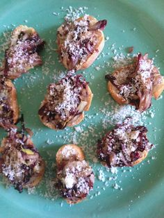 Radicchio and Endive Crostini with Aged Goat Cheese and Balsamic Glaze from themom100.com
