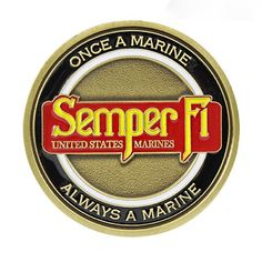 ☆ Commemorate America's elite fighting force with a USMC Semper Fi challenge… Once A Marine, Marine Mom, Us Marine Corps, Usmc, Marines, Marine Graduation, Military Challenge Coins, Parris Island, Military Pins