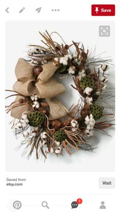 Primitive Cotton Boll Wreath Raw Cotton Bolls by FloralsFromHome Country Wreaths, Holiday Wreaths, Winter Wreaths, Wreath Crafts, Diy Wreath, Wreath Ideas, Cotton Decor, Cotton Crafts, Primitive Wreath