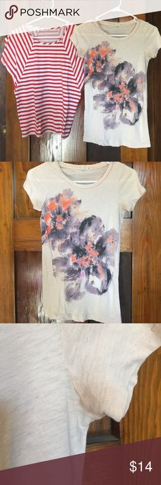 2 J Crew T shirts size XS The light cream shirt has sequin details on it and a light stain in the armpits. In perfect condition otherwise. Both 100% cotton. J. Crew Tops Tees - Short Sleeve