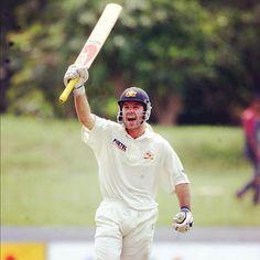 Ricky Ponting celebrates notching one of his 41 Test tons v Sri Lanka in '99