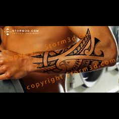 Eagle tattoo with Polynesian and Maori inspired patterns