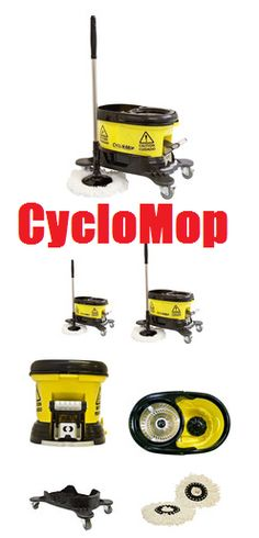 http://janitorialequipmentsupply.com/collections/spin-mop-cleaning-system-bucket-microfiber-heads/products/cyclomop-commercial-spin-mop Stainless steel mop spinner with dual action cleaning handle easily spin drys or washes the microfiber mop heads.