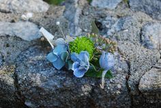 blue hydrangea, lavender rose, blue bella donna