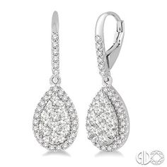 1 Ctw Pear Shape Diamond Love Bright Earrings in 14K White Gold