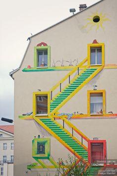 Bunt bemalte Fassade in #Dresden #Neustadt