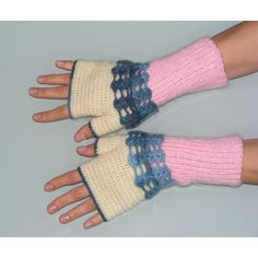Fingerless mittens, crochet gloves, knitted fingerless pink Christmas... ($13) ❤ liked on Polyvore featuring accessories and gloves