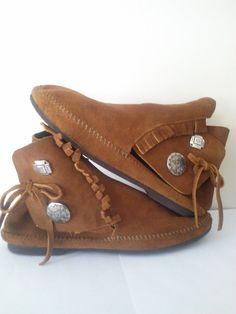 Vintage Leather Moccasin Ankle Fringe by JulesCristenVintage
