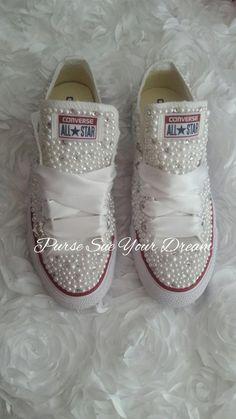 42aee6faebba Bridal Pearl and Crystal Rhinestone Custom Converse Wedding Shoes - Custom  Shoes - Bride Shoes - Pea