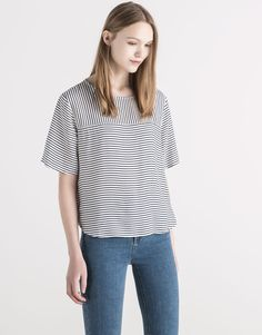 Pull&Bear - woman - blouses & shirts - crossover back striped top - navy - 05470314-V2016
