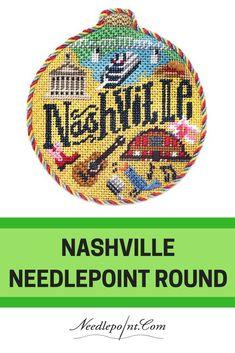 Nashville Travel Round Needlepoint from Kirk & Bradley. Click for canvas. #needlepoint #needlepointornament #finishedneedlepoint #needlepointcanvas #needlepointstitches