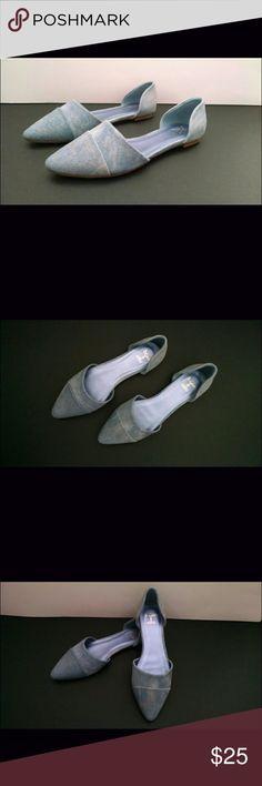 Beau + Ashe Carman Pointed-Toe Flats Brand new with box! Denim/metallic gold pointed-toe flats Beau + Ashe Shoes Flats & Loafers