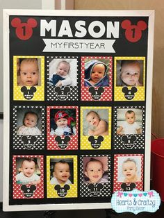 Mickey Mouse First Year Photo Banner / 12 Month Picture Banner Mickey 1st Birthdays, Mickey Mouse First Birthday, Mickey Mouse Clubhouse Birthday Party, Baby Boy First Birthday, Mickey Mouse Parties, First Birthday Parties, Birthday Party Themes, Birthday Celebration, Mickey Mouse Banner