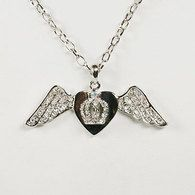 Heart Wings with Crown Necklace