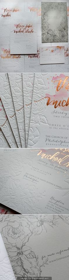 Rose Gold Foil and Blind Letterpress Floral Wedding Invitations