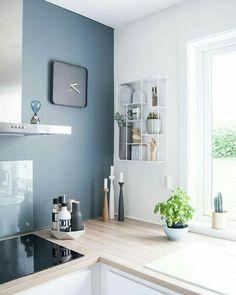 Modern kitchen wall decor kitchen blue feature wall where to buy modern kitchen wall decor . Scandinavian Kitchen, Scandinavian Interior Design, Interior Design Kitchen, Scandinavian Style, Minimalist Scandinavian, Scandi Style, Minimalist Interior, Style Deco, Style Norvégien