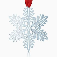 Snowflake ornament in sterling silver.