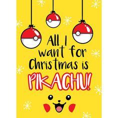 Carte de Noël Pokemon Pikachu Love Happy Xmas par WeeBlueCoo