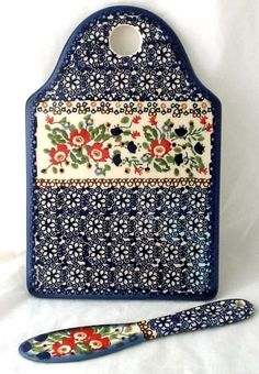 Polish Pottery Cheese Plate Serving Cutting Board & Spreader Knife in Lidia  #Manufaktura