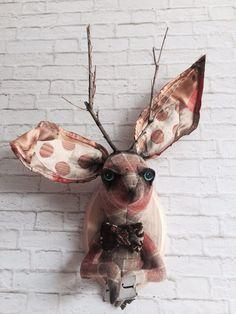 Jackalope Faux Taxidermy Hare