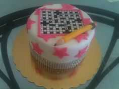 Crossword puzzle cake by Dulce Galeria