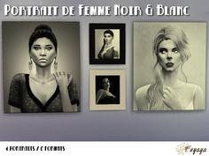 Sims 4 Tableaux portraits féminins Noir et blanc