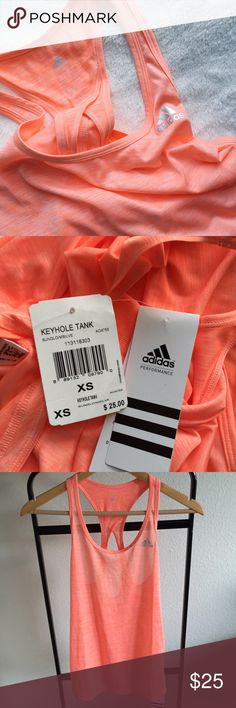 """🆕 Adidas Tank NWT orange """"sunglo"""" Adidas keyhole sport tank. Bust measures 15-inches across. 25-inches from shoulder to hem. Size XS.   ✨10%✨off with bundle!  ⭐️Suggested User⭐️ 💌Fast Shipping💌 💎Non-Smoking💎 🚫No trades/PayPal🚫 🎀Open to fair offers🎀 📷Instagram: laurentopor📷 💟Tumblr: nearlynewbylo💟  ✨ Happy Poshing ✨ Adidas Tops"""