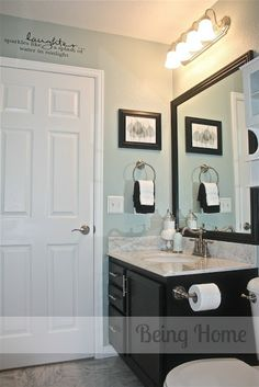 This is it! Rainwater, by Martha Stewart paint and dark chocolate cabinets... rsm likes the print over the towel holder