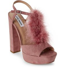 Steve Madden Mauve Tricia Feather Platform Block Heel Sandals ($50) ❤ liked on Polyvore featuring shoes, sandals, pink, leather sandals, peep toe platform sandals, pink sandals, leather t strap sandals and peep toe block heel sandals
