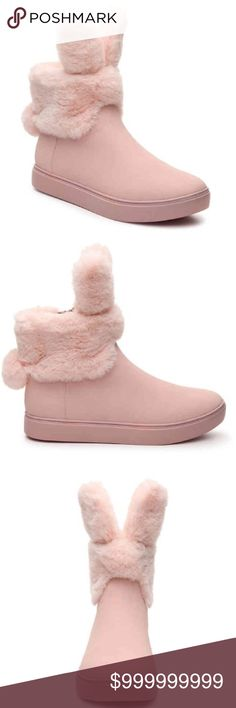"""🆕🐰Women's pink bunny boots Be a snow bunny this year with these cute pink boots with fuzzy ears and a tail🐰 Faux leather upper  Faux fur cuff and lining  Cushioned footbed 1"""" molded heal  Synthetic sole Boot shaft height approx 5"""" Zipper closure New in Box Shoes Ankle Boots & Booties"""