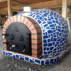 Wood Fired Pizza Oven with Mosaic Tiles and Cast Iron Door!A traditional and fully insulated wood fired pizza oven made in Portugal!This oven features Wood Oven, Wood Fired Oven, Wood Fired Pizza, Pizza Oven Outdoor, Outdoor Cooking, Outdoor Mosaic Tiles, Bread Oven, Four A Pizza, Fire Pizza