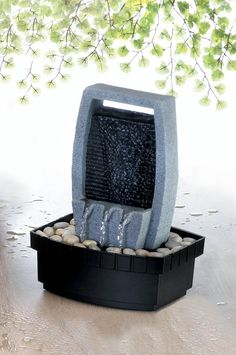 Classic Water Wall Tabletop Fountain - A small wall of water cascades down to the rocks below, creating a soothing and stylish addition to your room. The calming influence of this compact fountain will transform your space to a peaceful retreat. Indoor Tabletop Fountains, Diy Garden Fountains, Tabletop Water Fountain, Diy Fountain, Small Fountains, Indoor Fountain, Water Fountains, Indoor Waterfall Wall, Indoor Waterfall Fountain